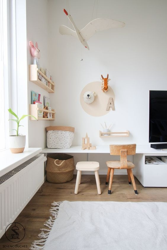 kids furniture - play space in the living room - desk by the tv